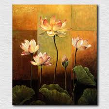 Noble pure lotus flowers canvas painting for bedroom reproduction oil painting  for office room canvas art