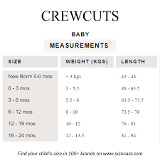 Crewcuts Size Chart Baby Clothes Size Chart Baby Clothing