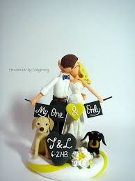 Romantic Customized Wedding Cake Topper With Dogs Via Etsy Clay