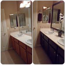 Espresso Painted Cabinets Main Bathroom Remodel Framed Mirror With Mdf Trim Then Spray