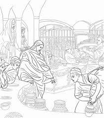 Eerste Wonder Van Jezus Op De Bruiloft Te Kana Kleurplaat Gratis