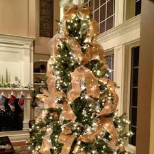 christmas trees decorated with burlap ribbon. Burlap Ribbon Rustic Christmas Tree To Trees Decorated With