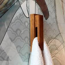 Iroko wood towel holder wood wall mounted hook by BogaHome on Zibbet