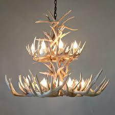 whitetail deer antler chandelier 2 tier sq