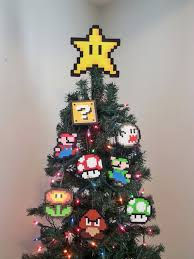 ORIGINAL Mario Bros. Perler Bead Star Christmas Tree Topper