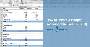 Create A Budget Worksheet Pound Place How To Create A Budget Worksheet In Excel Video