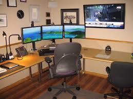 designer home office desk. Triple Monitor Setup Designer Home Office Desk H