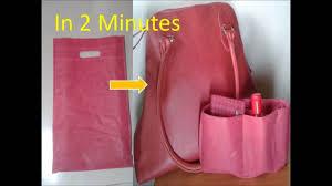 diy handbag purse organizer using carry bag no sew in 2 minutes how to organize purse