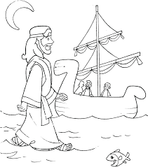 Water Coloring Pages Jesus Walks On Water Coloring Pages Page Peter