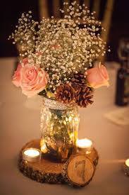 Decorating With Mason Jars For Wedding Stunning Rustic Mason Jar Centerpiece with Pine Cones Candles and 2
