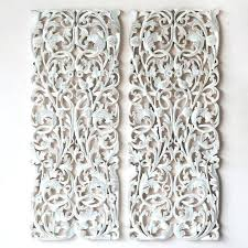 white carved wood wall art carved wood wall art entrancing pair of wall art panel wood
