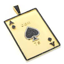 custom mens pendands ace of spades diamond pendant 10k solid gold 11 45ct