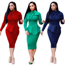 2019 47S3231 Women'S <b>Work Dresses Autumn New</b> Stand Collar ...