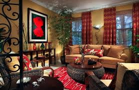 Beautiful Living Room With Den Decorating Ideas Added Red Accents Rugs As  Well As Tan Fabric 3 Seater Sofas Added Cool Art Wall Decors