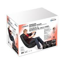 gray stripe rocker gaming chair designed by hazz design with express speakers and bluetooth wireless available at toysrus canada