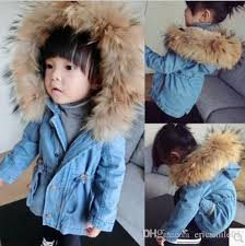 baby girls winter denim wool coats children fur collar pure color hoos tops girls casual outwears kids cotton padded clothes jl 1537 baby girls winter