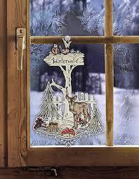 Fensterbild Wegweiser Winterwald Fensterdeko Weihnachten Erzgebirge Mit Saugnapf Ebay