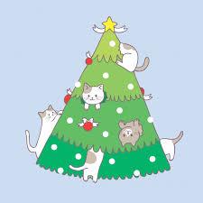 Premium Vector | <b>Cartoon cute christmas</b> cat and <b>christmas</b> tree vector.