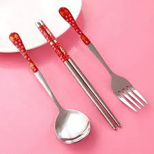 single cutlery set. Interesting Single Gift Box Students Two Single Threepiece Stainless Steel Cutlery Set Spoon  Fork Chopsticks Portable Throughout Single Cutlery Set T