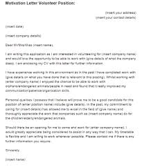 Motivation Letter Volunteer Position Example | Just Letter Templates