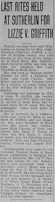 Obituary for Lizzie Veronica GRIFFITH - Newspapers.com