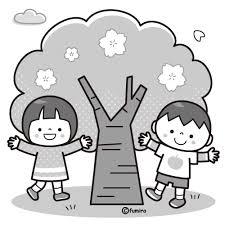 桜の木とこどものイラストモノクロ 子供と動物のイラスト屋さん