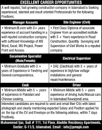 19 2016 job opportunities in construction company islamabad