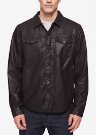 levi s men s lightweight faux leather shirt jacket