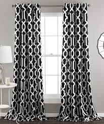 "Lush Decor Edward Trellis Curtains Room Darkening Window Panel Set for Living, Dining, Bedroom (Pair), 84"" x 52"", Black"