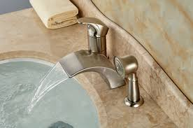 brushed nickel roman waterfall spout tub faucet bathroom sink mixer in bathtub with sprayer decor 3