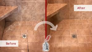 before and after picture of a ceramic tile shower floor caulking services in murfreesboro tennessee