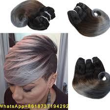 أومبير رمادي تسريحات الشعر القصير 8 بوصة البرازيلي الجسم