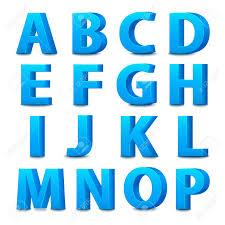 Blue Letters 3d Font Big Blue Letters Standing Vector Illustration