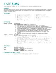 Resume And Cover Letter Sample Social Work Resume Sample Resume