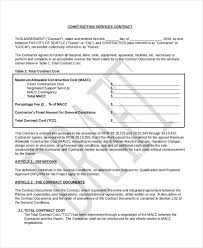 Contract Forms For Construction Sample Construction Contract Form 10 Free Documents In Pdf