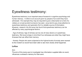 eye witness testimony research into this area has found that document image preview