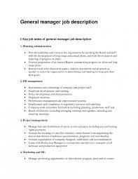 General Manager Sample Job Description Sales Resume Retail Cover