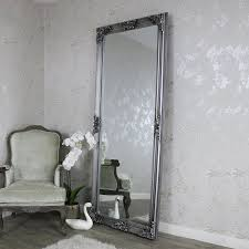 extra extra large ornate antique silver full length wall floor mirror 85cm x 210cm