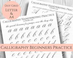 Handwritting Practice Calligraphy Handwriting Practice Sheets Easy Large Print Dot Grid For Bullet Journal Uppercase Lowercase Printable