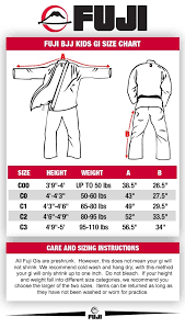 Fuji Gi Size Chart Size Charts Hatashita Sports