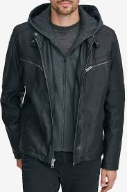 andrew marccorbett removable knit hood faux leather jacket