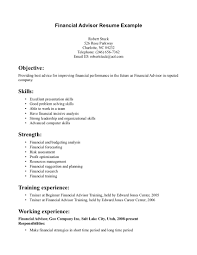Bank Financial Advisore Examples Skills Sample With Working