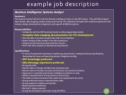 10 example job description business intelligence systems analyst data warehouse analyst job description