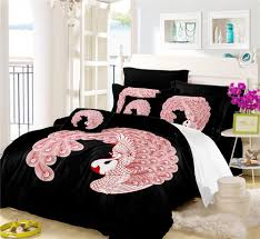 pink red peacock bedding set sweet animal design duvet cover set white red black bedclothes girls sweet bed cover pillowcase comforter sets comforters