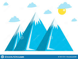 Blue Mountains Web Design Blue Mountains Snow Clouds And Sun Stock Vector
