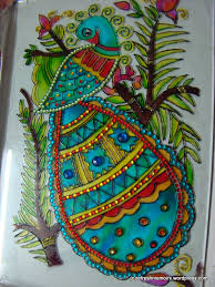 glass painting with kundan work