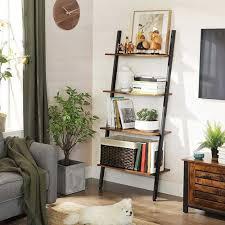 industrial 4 tiers leaning ladder shelf