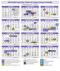 Image Of 2020 Calendar 2019 2020 Board Approved Calendar Cape Fear Center For Inquiry