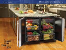 Center island fridge, for fruits and veggies. Amazing. I love the idea of