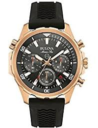 amazon co uk bulova watches bulova men s designer chronograph watch sports rubber strap water resistant rose gold marine star 97b153